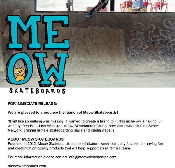 Introducing Meow Skateboards!