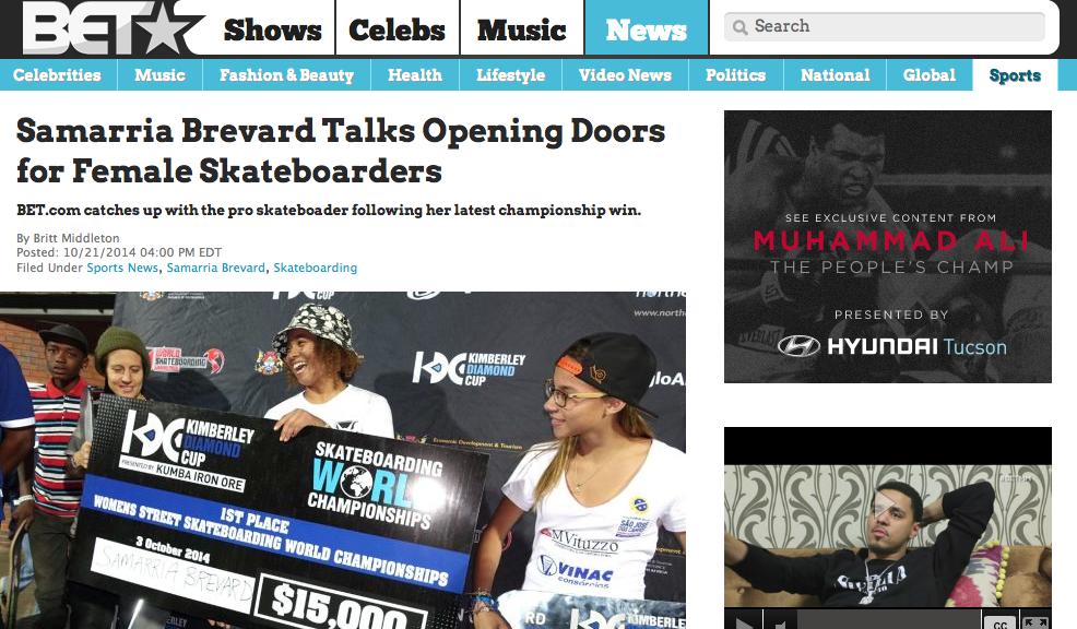 BET | Samarria Brevard Talks Opening Doors for Female Skateboarders