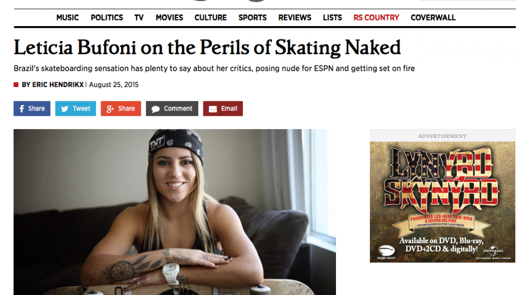 Rolling Stone | Leticia Bufoni on the Perils of Skating Naked